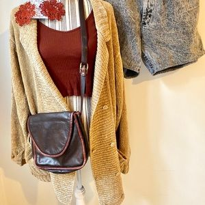 Vintage oversized gold cardigan with pockets